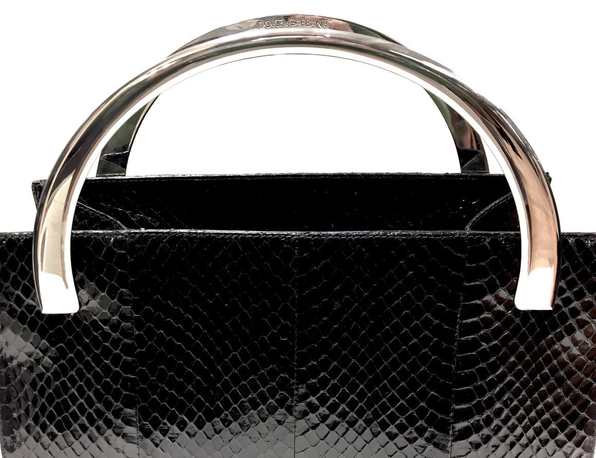 DOLCE & GABBANA Black Python Skin Hand Bag with Dual Silvertone Metal Rigid Handles