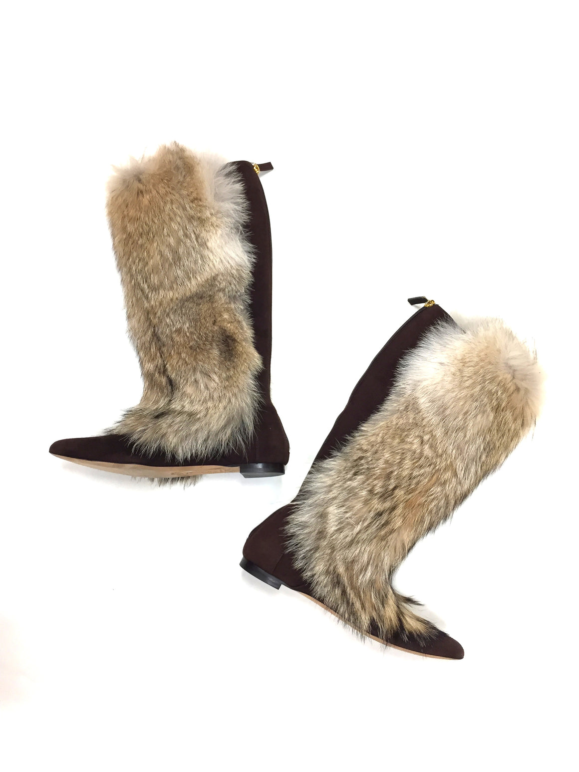 OSCAR DE LA RENTA Brown Suede Blonde Fox Fur Knee-High Flat Boots Size: 7.5M