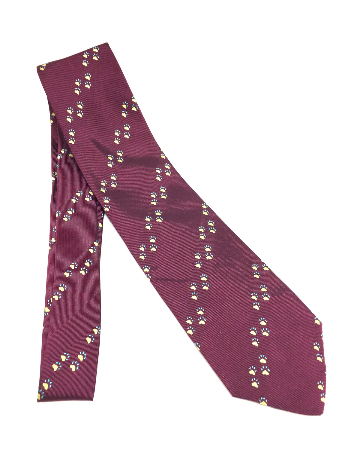 New PURDEY Burgundy Diagonal Paw-Print Textured Silk Men's Neck Tie