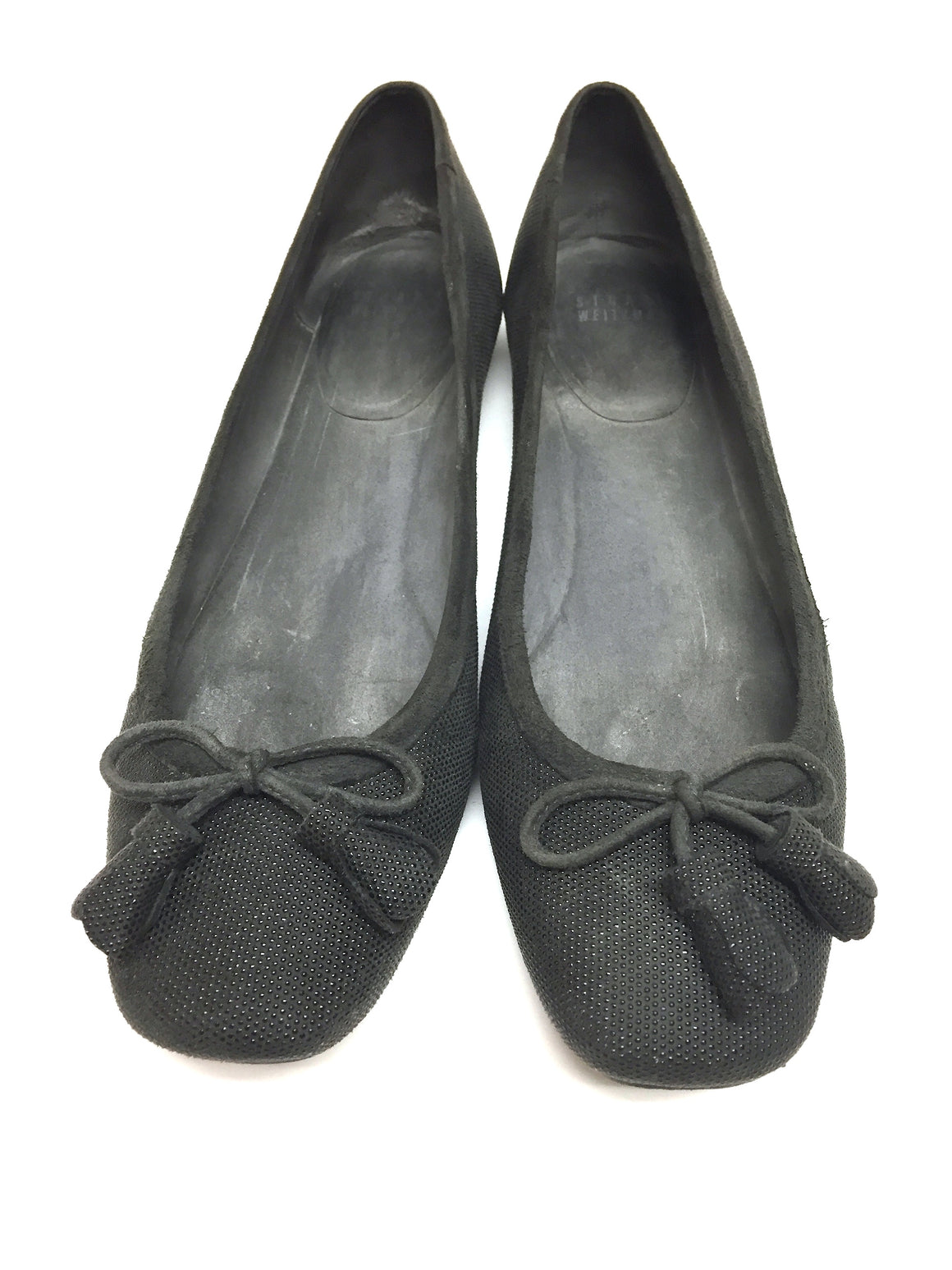 STUART WEITZMAN Charcoal-Gray Goose Bumps Napa Leather Ballet Flats Shoes Size: 9M