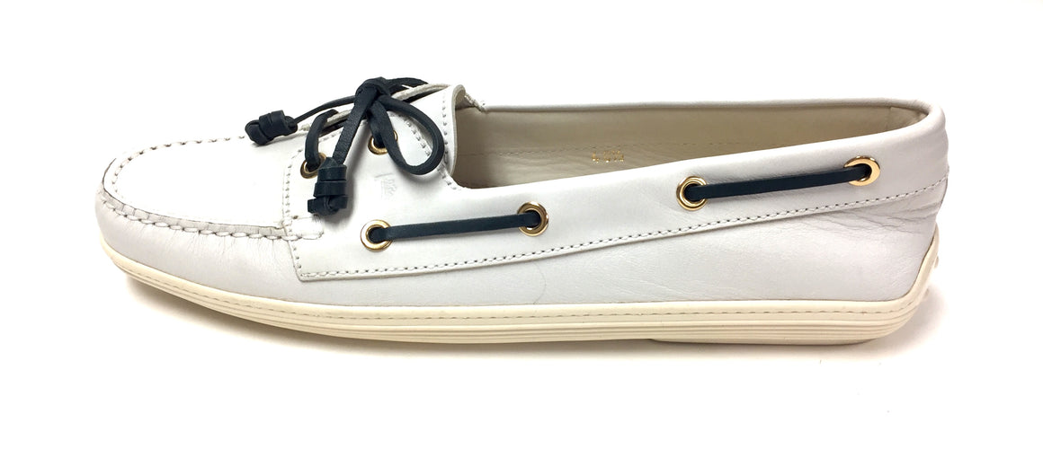 TOD'S White Leather Dark-Green Lace & Bow Driving Shoes Topsiders Moccasins Size: EU40.5 / US 10.5