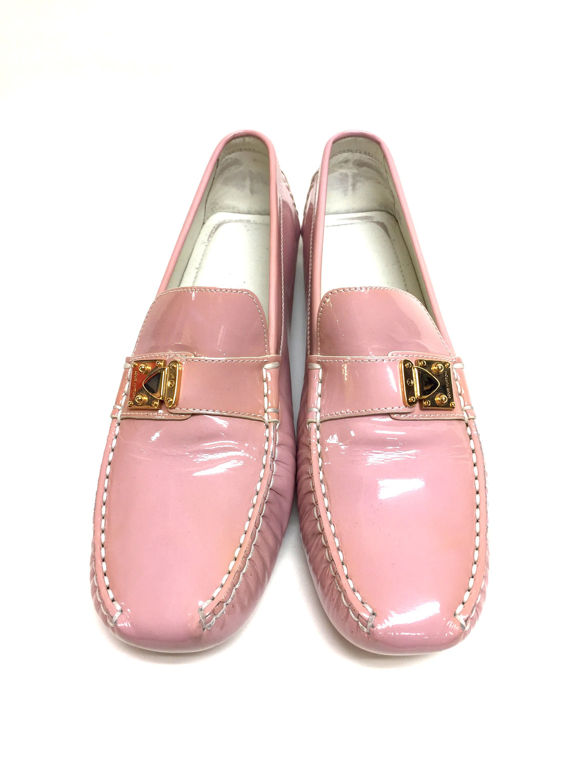 LOUIS VUITTON Pink Patent Leather LOMBOK Women Driving Loafers Shoes Shoes Size: 39.5