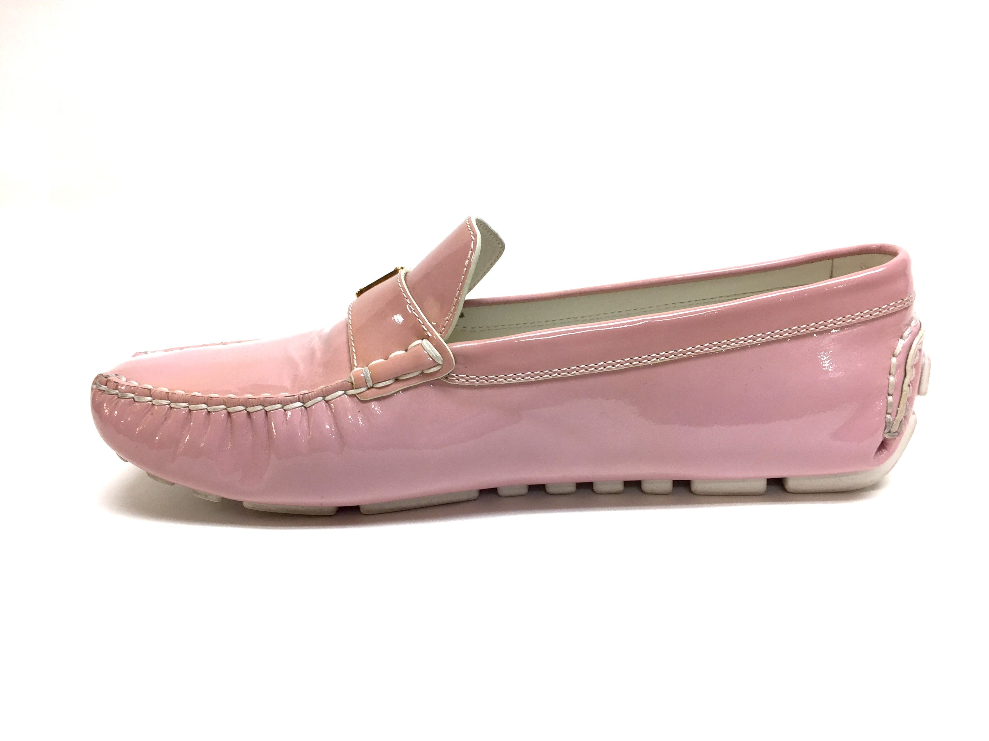 LOUIS VUITTON Pink Patent Leather LOMBOK Women Driving Loafers Shoes Shoes  Size  39.5 740c32934248