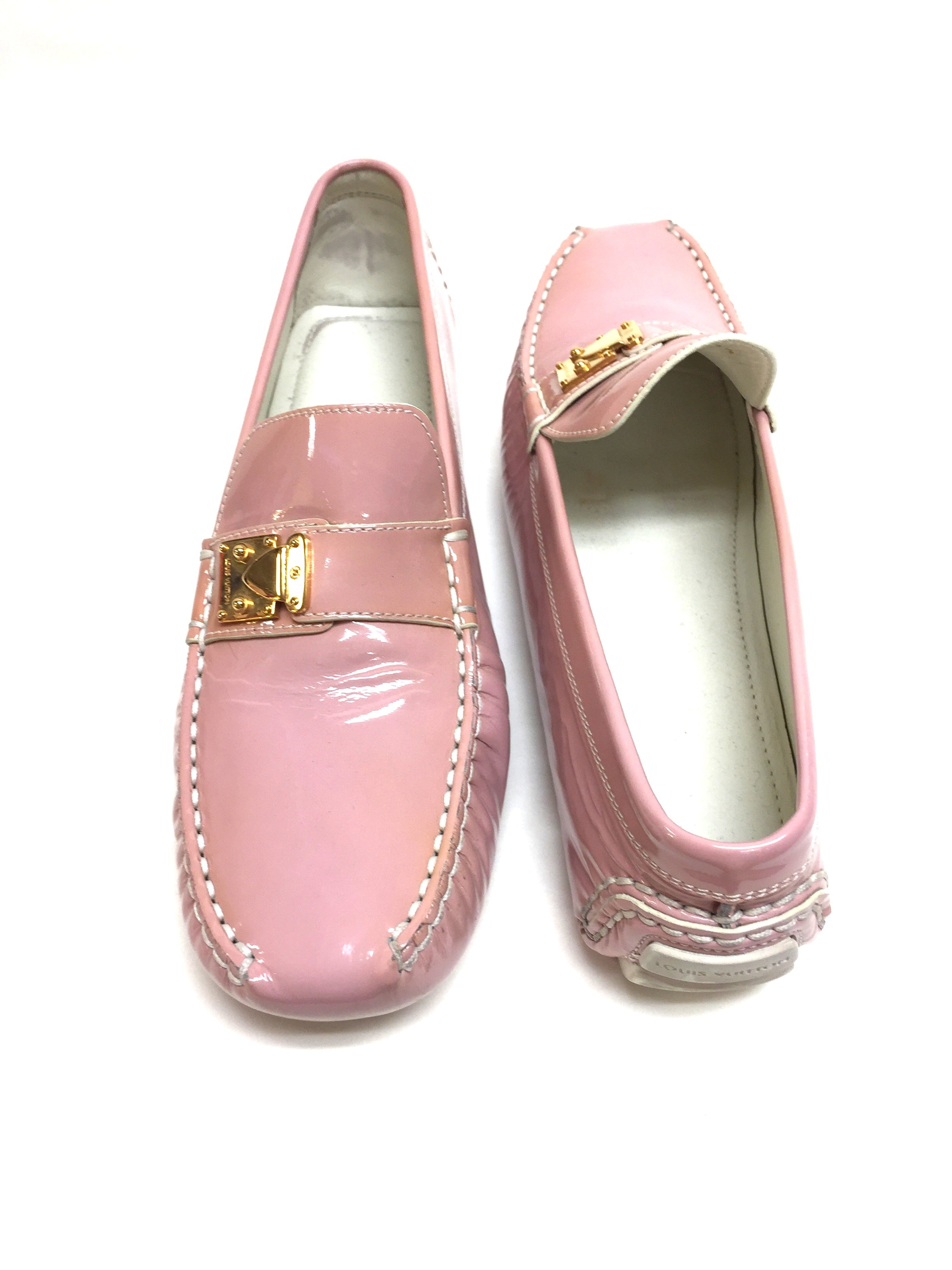 0885411a110 LOUIS VUITTON Pink Patent Leather LOMBOK Women Driving Loafers Shoes Shoes  Size  39.5