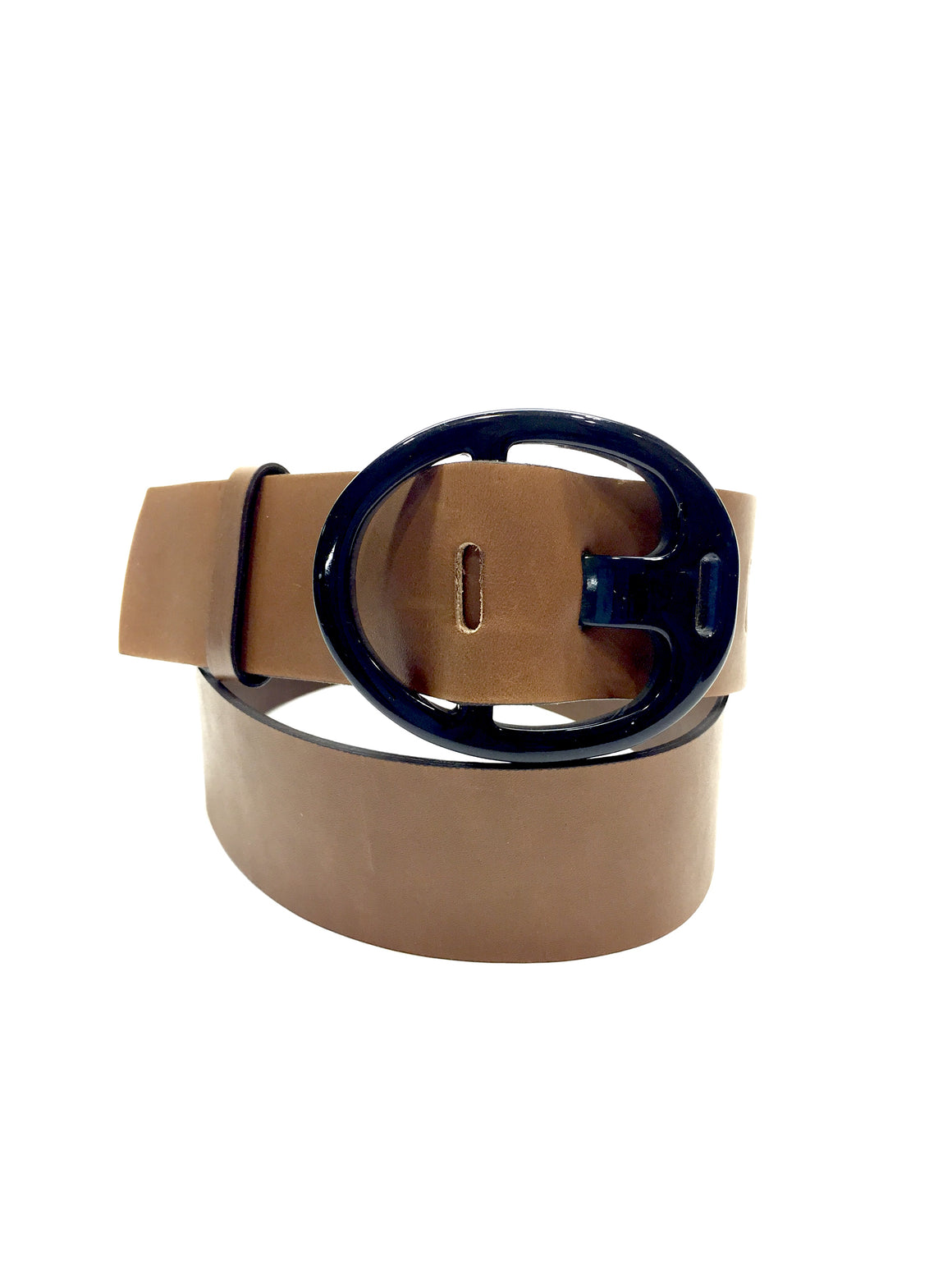 MARNI Brown Leather Black Plastic Buckle Waist Belt SzSmall