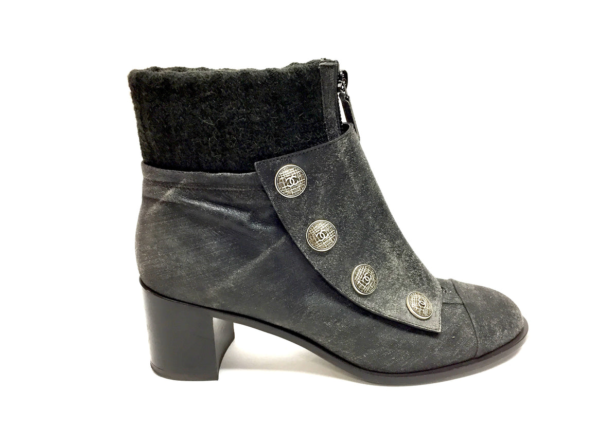 bisbiz.com CHANEL Gray Distressed Suede Silvertone Logo Snap Buttons Ankle Boots Booties Size: 39.5 - Bis Luxury Resale