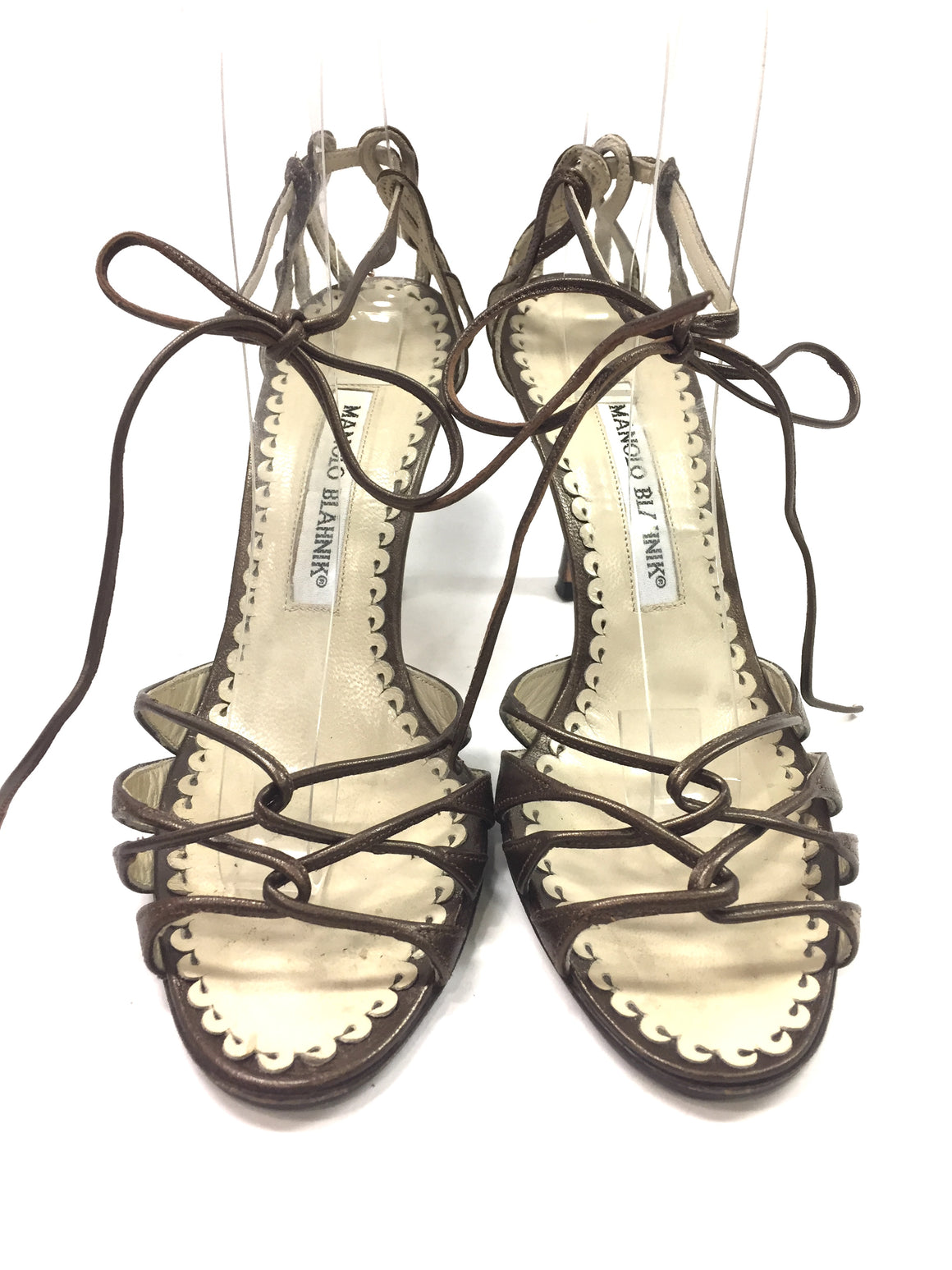 MANOLO BLAHNIK Copper-Brown Leather Strappy Ankle-Tie Hi=Heel Sandals Sz35.5