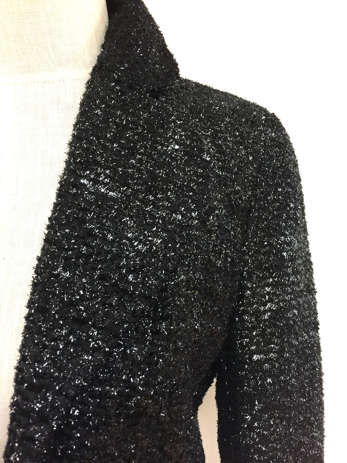 DOUGLAS HANNANT   Black Metallic Tweed Cropped Bolero Jacket Size: 4