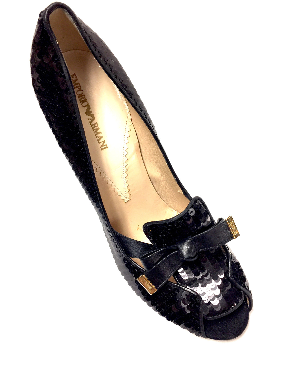 EMPORIO ARMANI Black Sequined Vamps Peep-Toe Party Heels Pumps Size: EU40 / US9.5