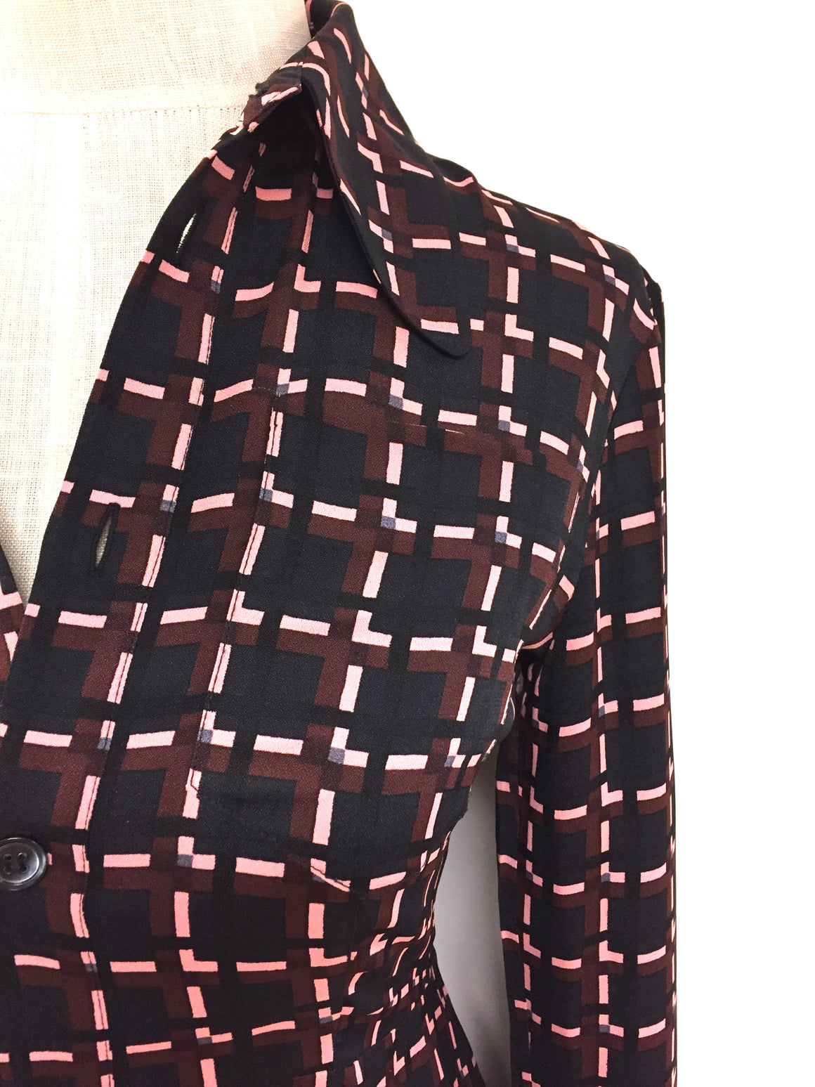 MARNI  Black Brown Pink Geometric-Print Viscose Flutter-Bottom Blouse Top Size: 4 (estimated)