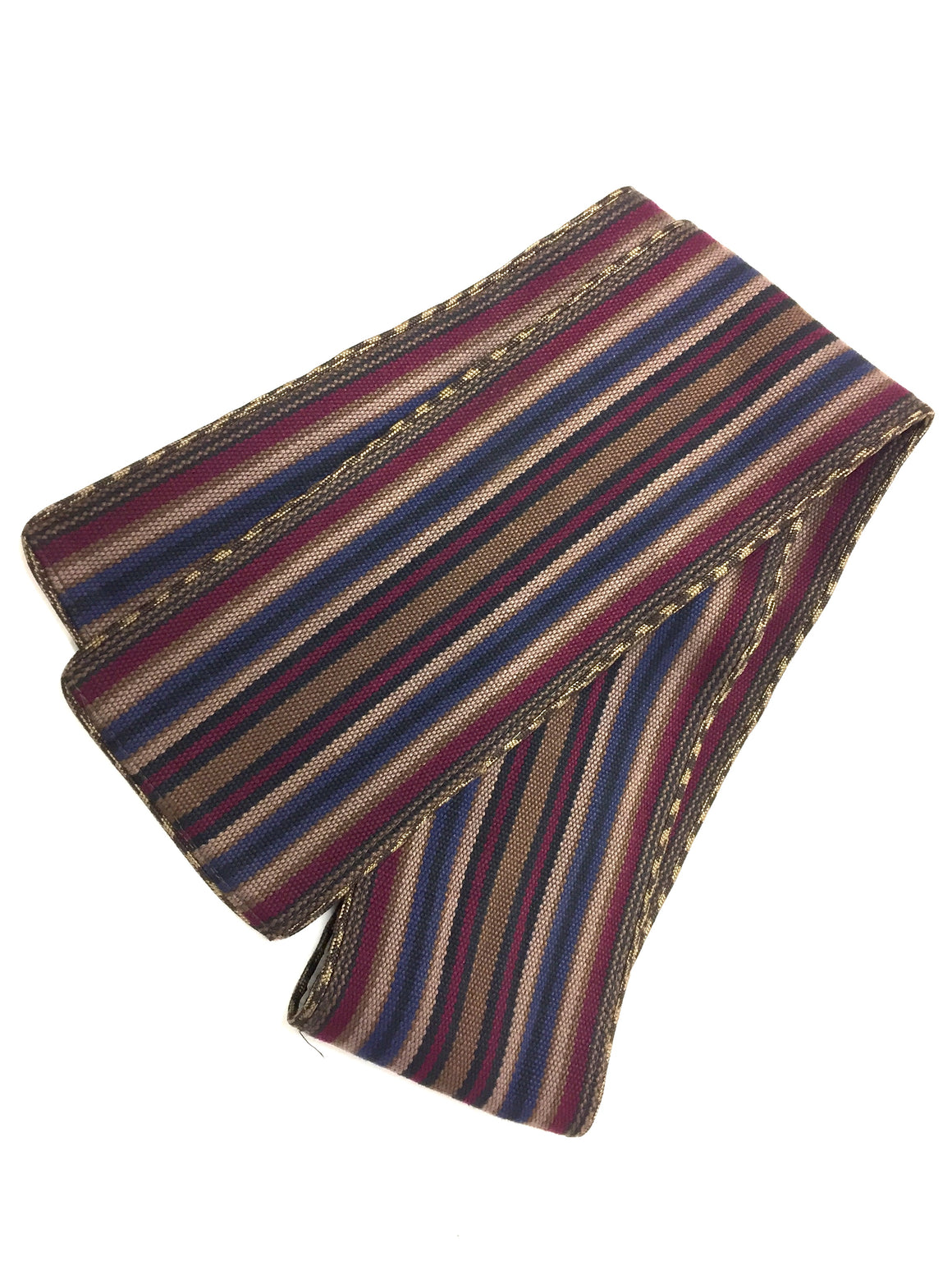 CALVIN KLEIN  Vintage  Burgundy/Multicolor Striped Woven Cotton Sash Belt