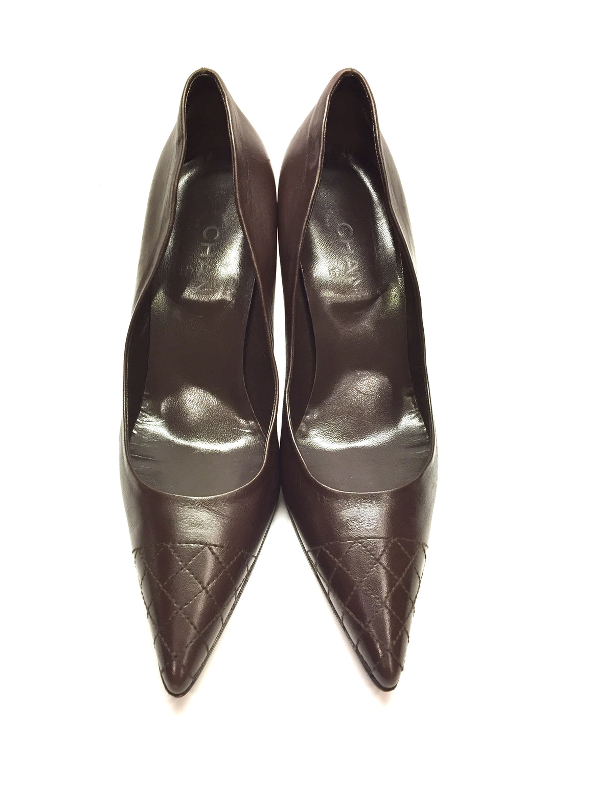 CHANEL Brown Leather diamond-Stitched Cap-Toe & Heels Pointed-Toe Pumps Sz40