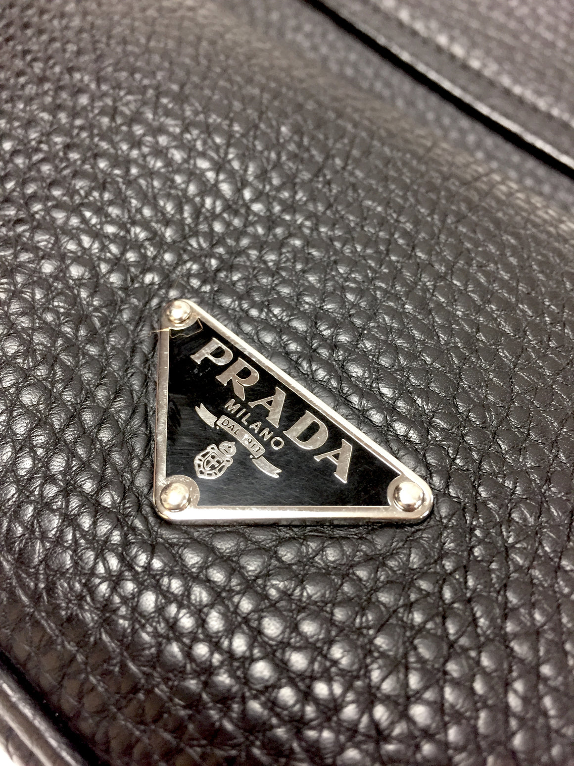 PRADA  Black Caviar Leather Silvertone Metal Handle Shoulder Hand Bag