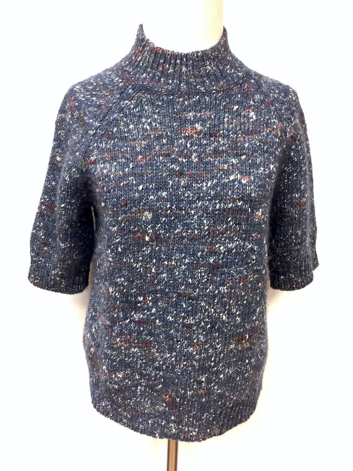 THEORY Slate-Blue/Multicolor Marled Wool & Wil Short-Sleeve Sweater Top SzL