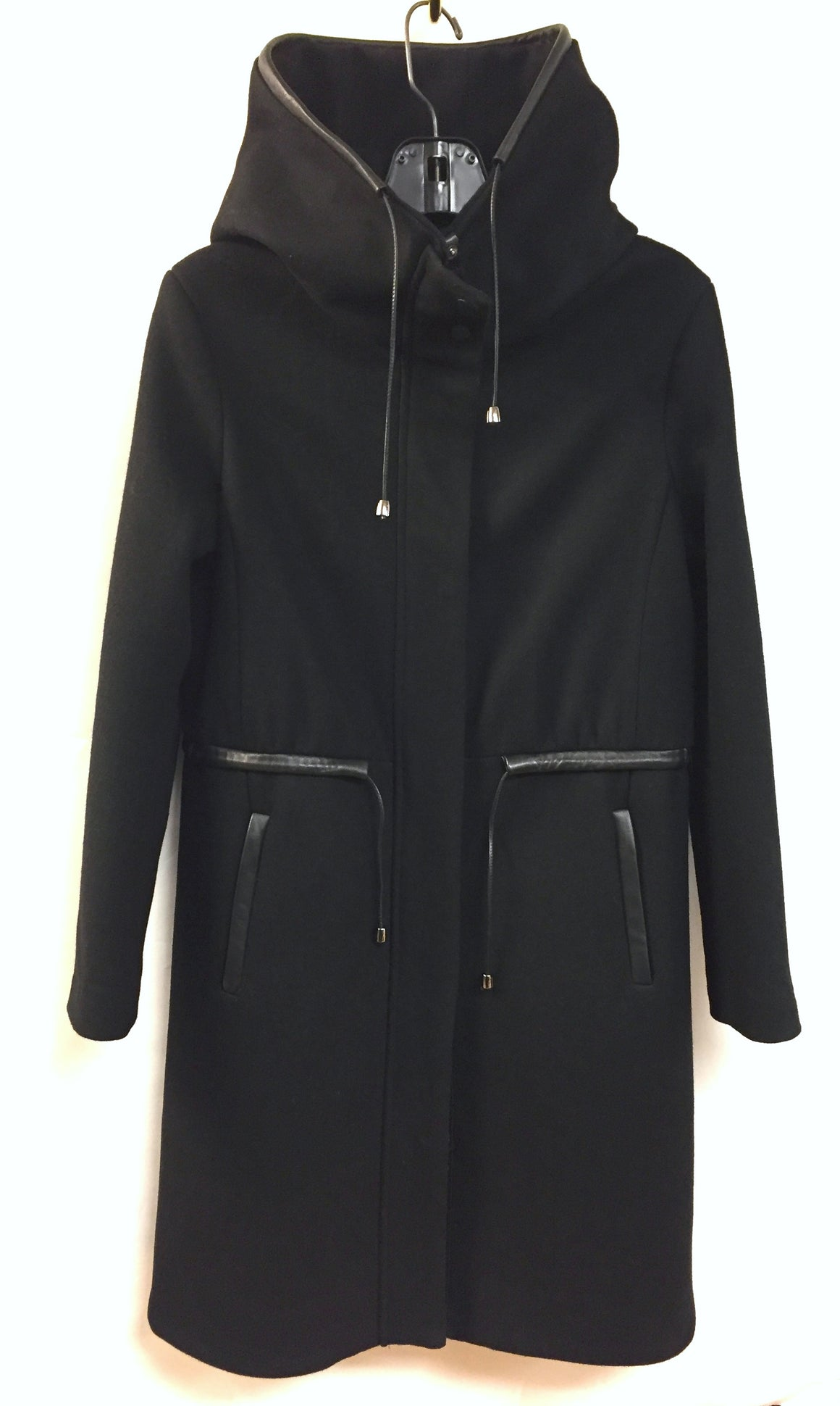 MACKAGE  Black Wool-Blend Zip/Snap-Front Drawstring Waist Winter Coat  Size: Medium
