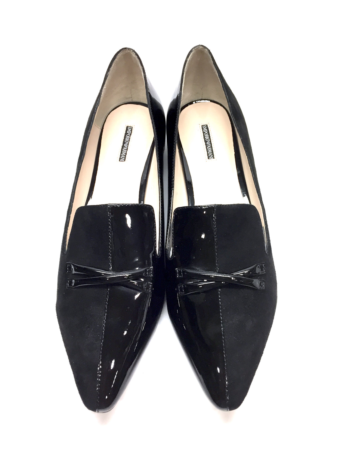 New EMPORIO ARMANI Black Suede & Patent Leather Pointed-Toe Tuxedo Flats Sz40