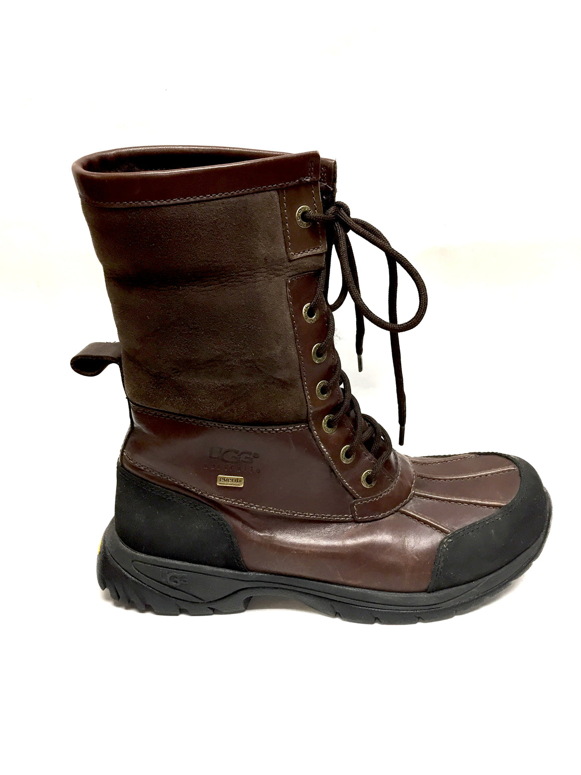 bisbiz.com UGG AUSTRALIA Brown Leather Lace-Up Winter Boots with Sheepskin Fur Cuffs & Rubber Soles Size: US 8  Description: - Bis Luxury Resale