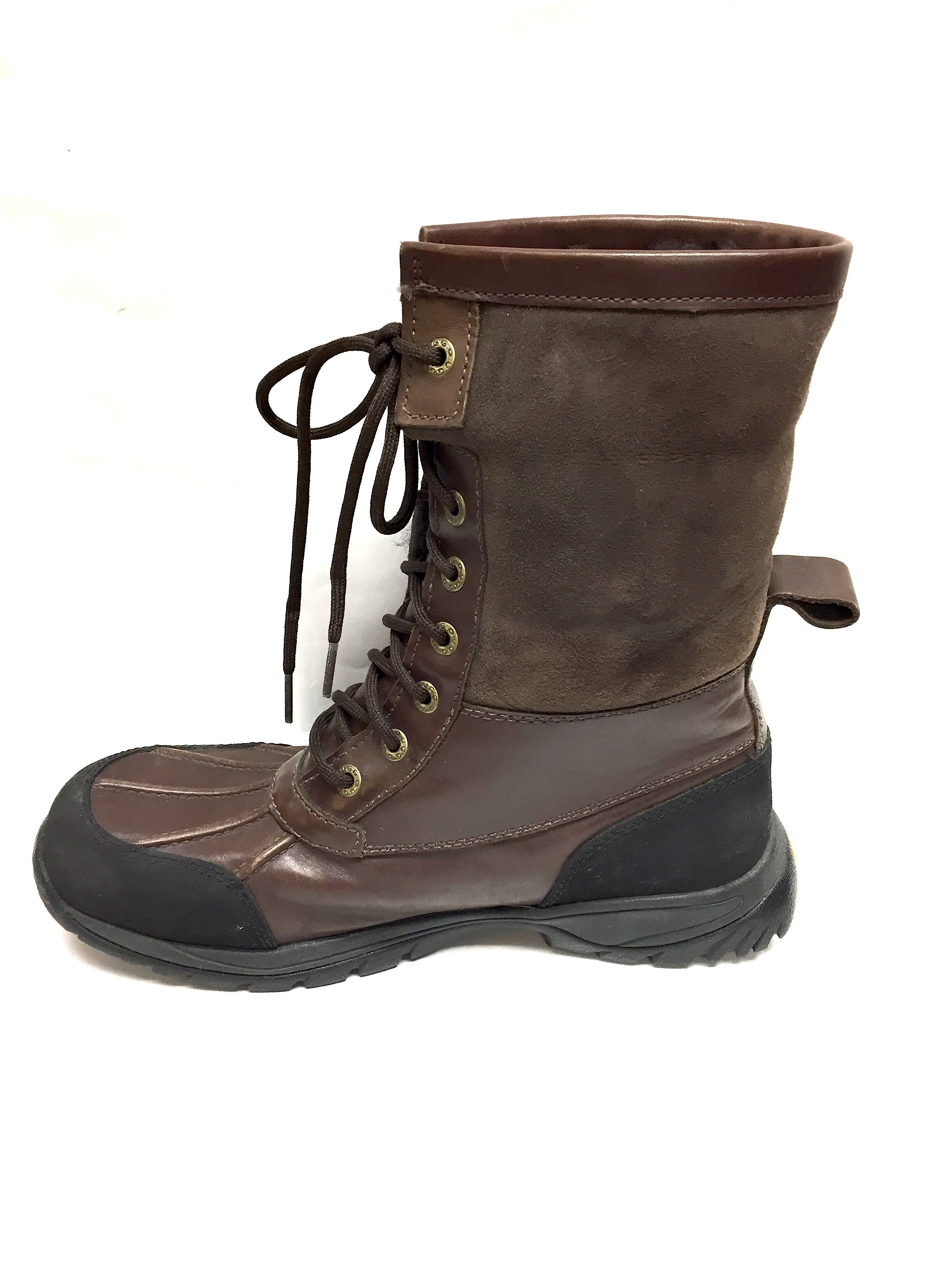 f1ded742e7d UGG AUSTRALIA Brown Leather Lace-Up Winter Boots with Sheepskin Fur Cuffs &  Rubber Soles Size: US 8 Description: