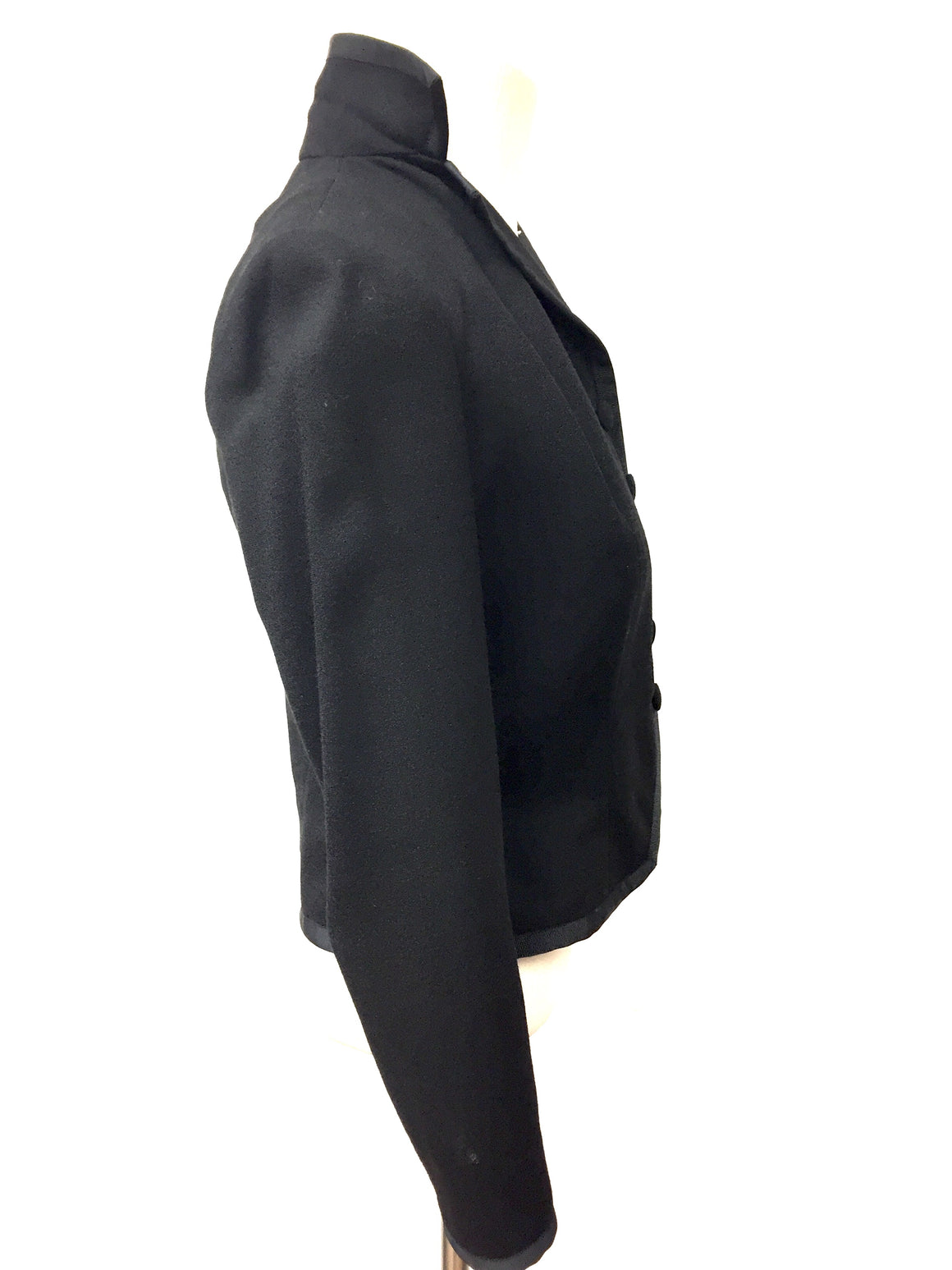 RALPH LAUREN Purple Label Black Wool Tuxedo Style Cropped Dress Jacket  Size: 4 - Small