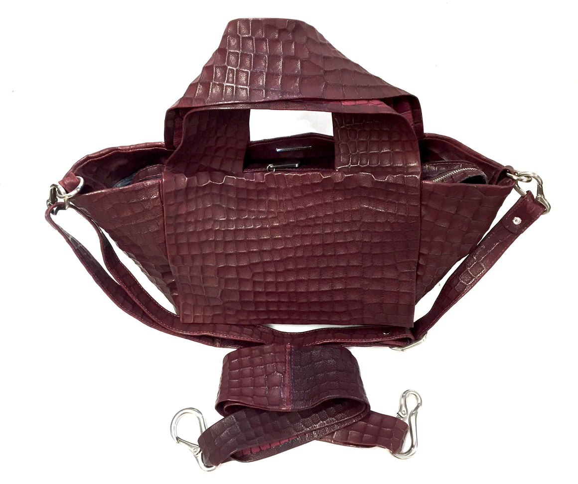 DANIELLA LEHAVI Burgundy Croc-Textured Leather Satchel with Dual Detachable Straps