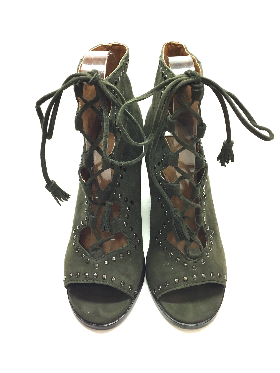 FRYE Loden-Green Suede  Open-Toe Lce-Up Ankle Boots Booties Sz 5.5M