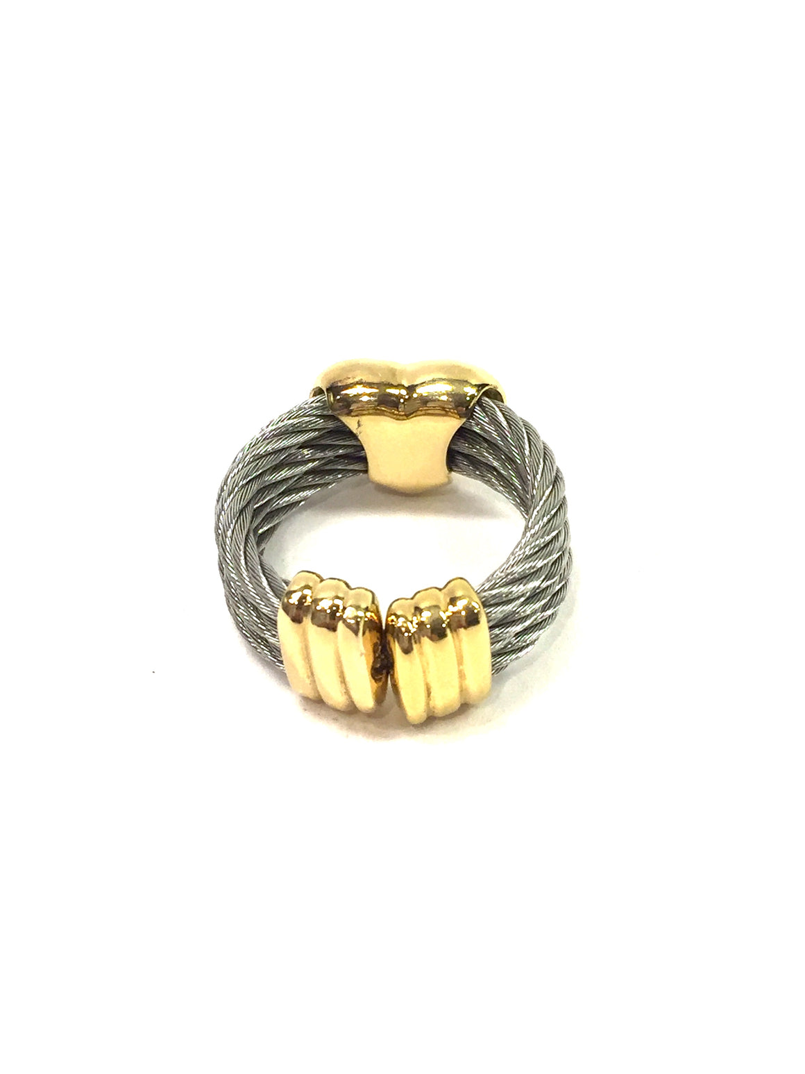 PHILIPPE CHARRIOL Stainless Steel Cable Gilt Metal Heart Ring Size: One Size