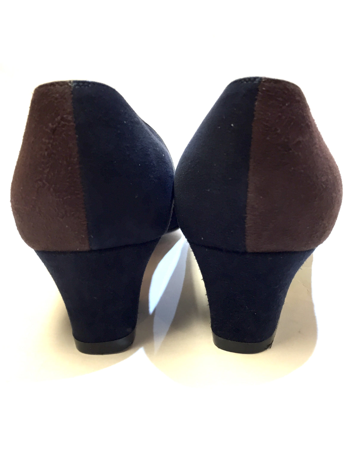 SILVIA FIORENTINA Brown/Navy-Blue Color Block Suede Low Heel Pumps Size: EU37 / US7