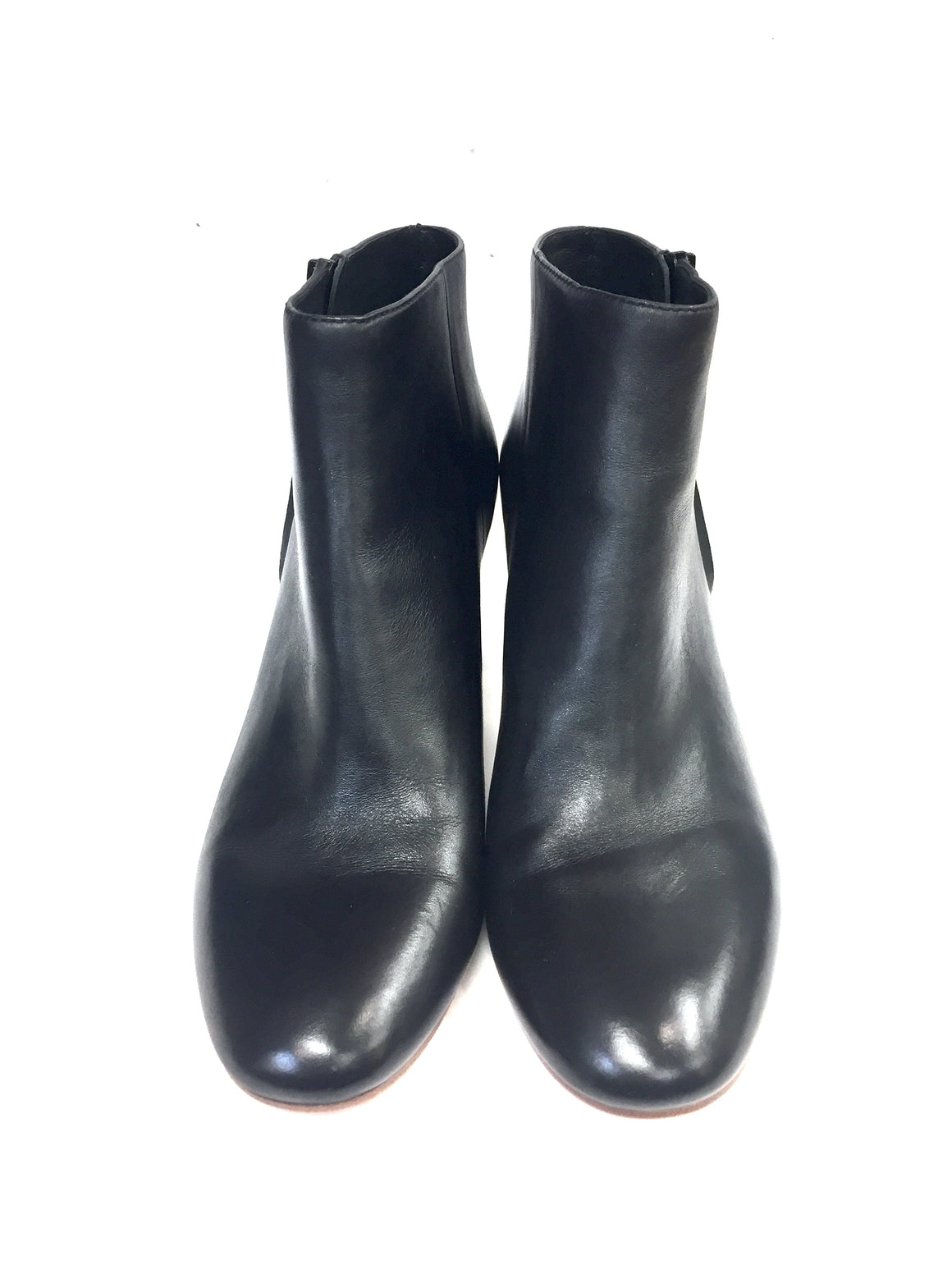 LOEFFLER RANDALL Black Leather Block Heel Ankle Boots Booties Size: 10 B