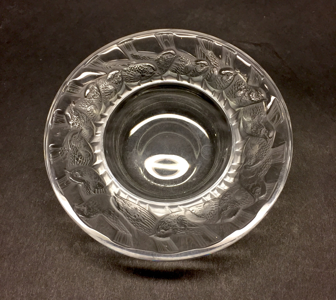 LALIQUE FRANCE Clear & Satin Crystal Chickadee Decorative Mini Bowl