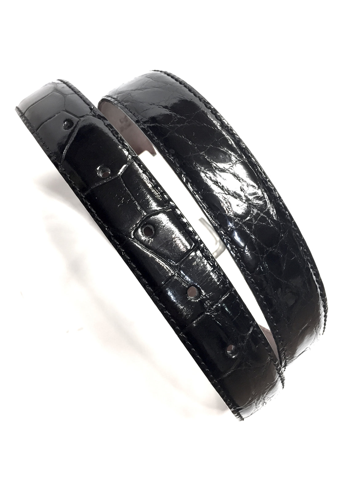 "RALPH LAUREN  New with Tags  Black Alligator Skin Waist Belt with Silver-Plated Buckle & Tip  Size: 28"" (70/85)"