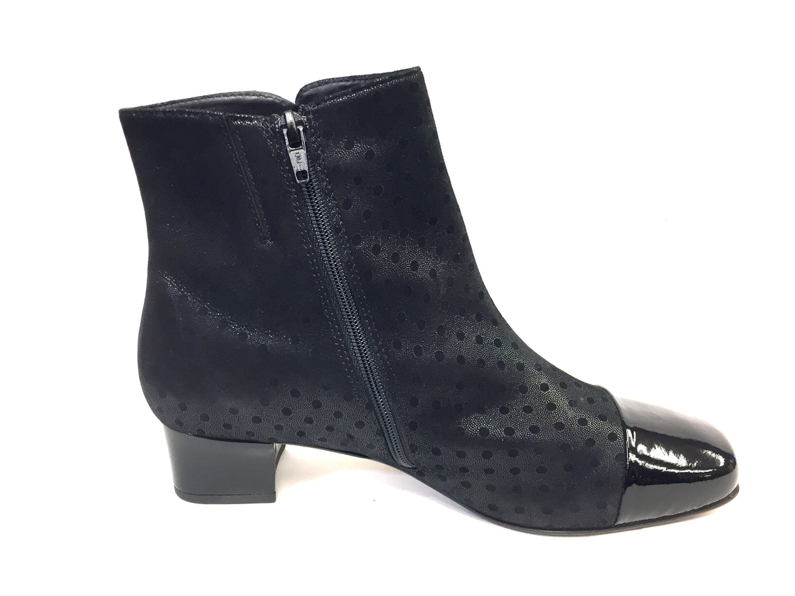 HASSIA Black Polkadot Suede Patent Cap Toe Ankle Boot Booties Size: 39.5 / 9.5