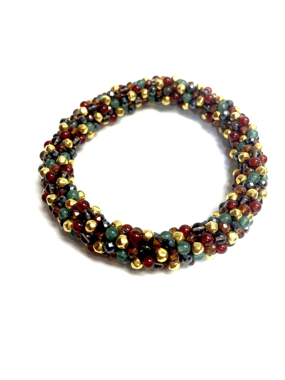 MEREDITH FREDERICK  14K Yellow Gold Garnet Jade Hematite Beads Roll-On Bracelet