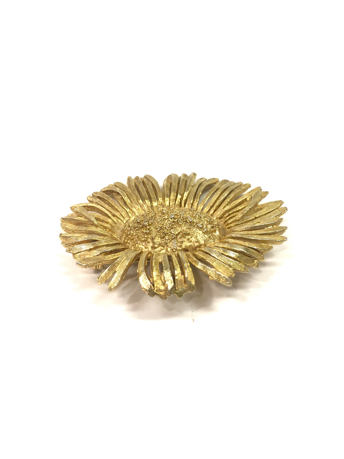 Vintage JUDITH GREN Gilt Metal Stylized Textured Flower Pin Brooch/Pendant