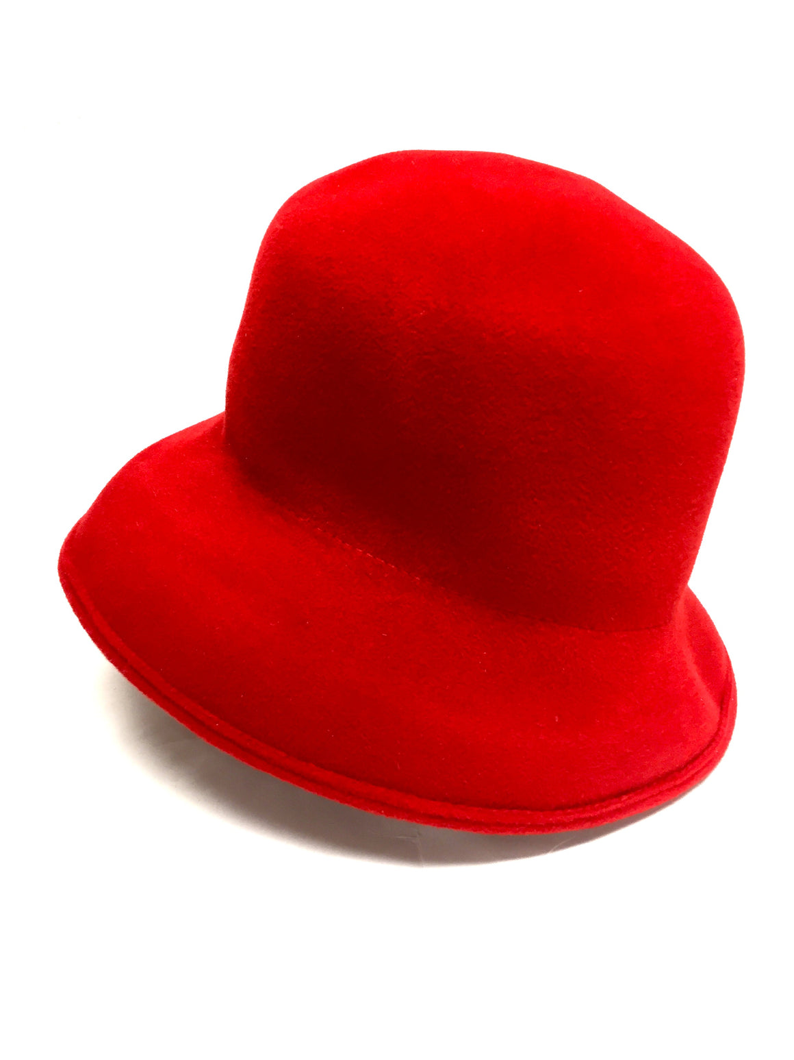 bisbiz.com ERIC JAVITS Red Felt Wool Felt Cloche/Bowler Packable Winter Hat Size: 38.5 - Bis Luxury Resale