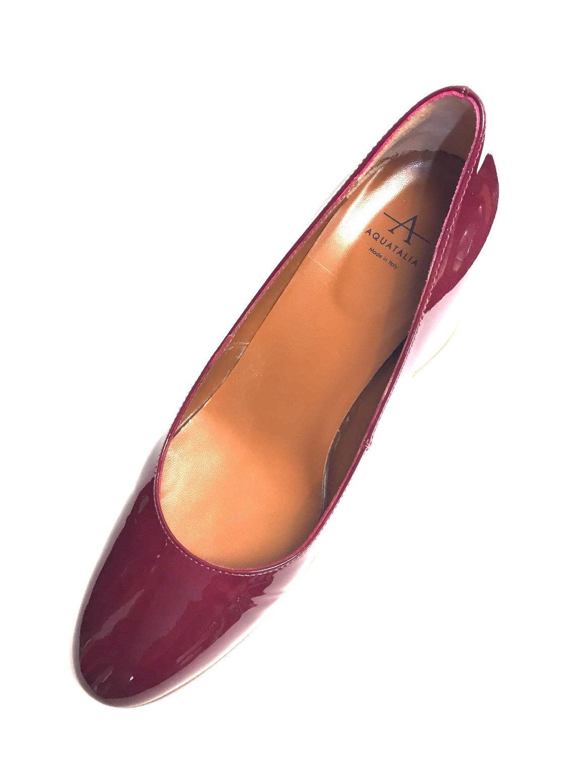 AQUATALIA Cranberry-Red Patent Leather Block Heel Pumps Shoes Size: EU 39 / US 9 M