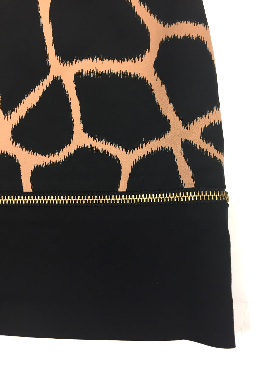 MICHAEL/MICHAEL KORS Black/Tan Giraffe-Print Cotton Wraparound Zipper Mini Skirt Sz2