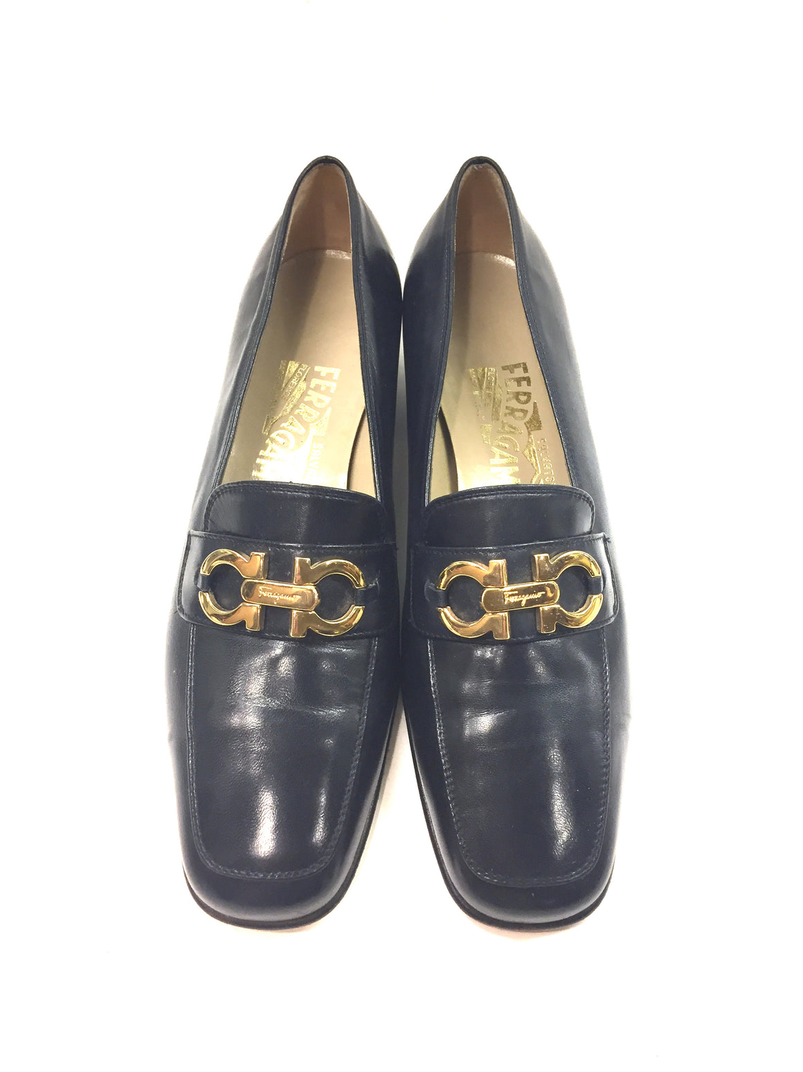 FERRAGAMO Navy-Blue Leather Gold Gancini Buckle Low-Heel Loafers Shoes Sz7B