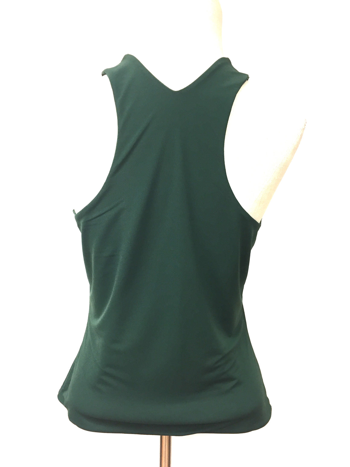 OMO NORMA KAMALI Vintage Forest-Green Polyester Racer-Back Tank Top Camisole