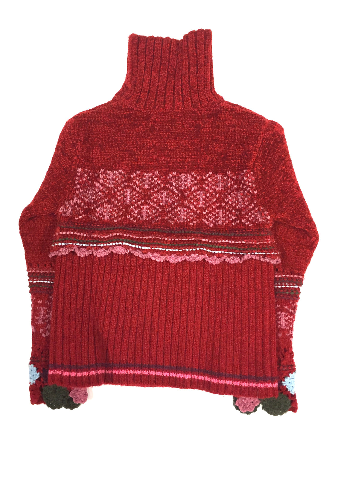CATIMINI Red Chenille Wool-Blend Girls' Turtleneck Sweater Size:  8 Years