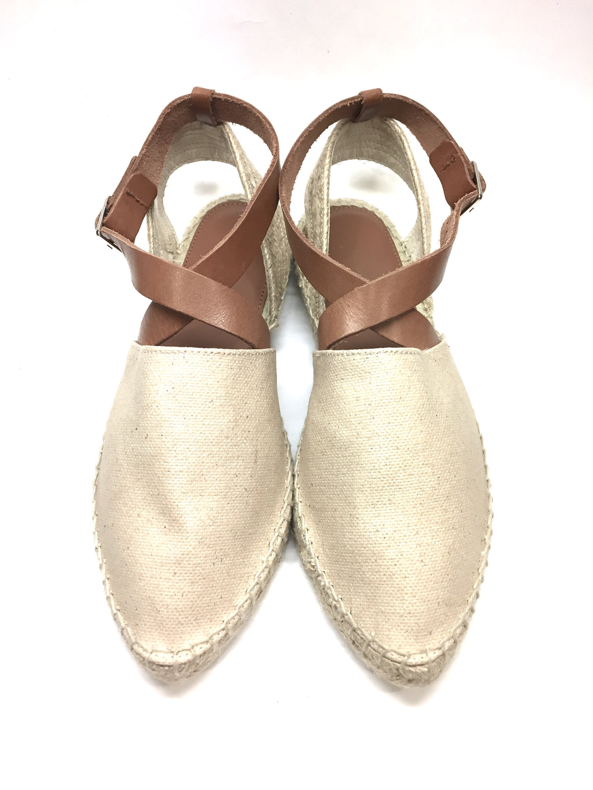 MATT BERNSON Beige Canvas Tan Leather Criss-Cross Strap Slingback Espadrilles SzEU37/US7