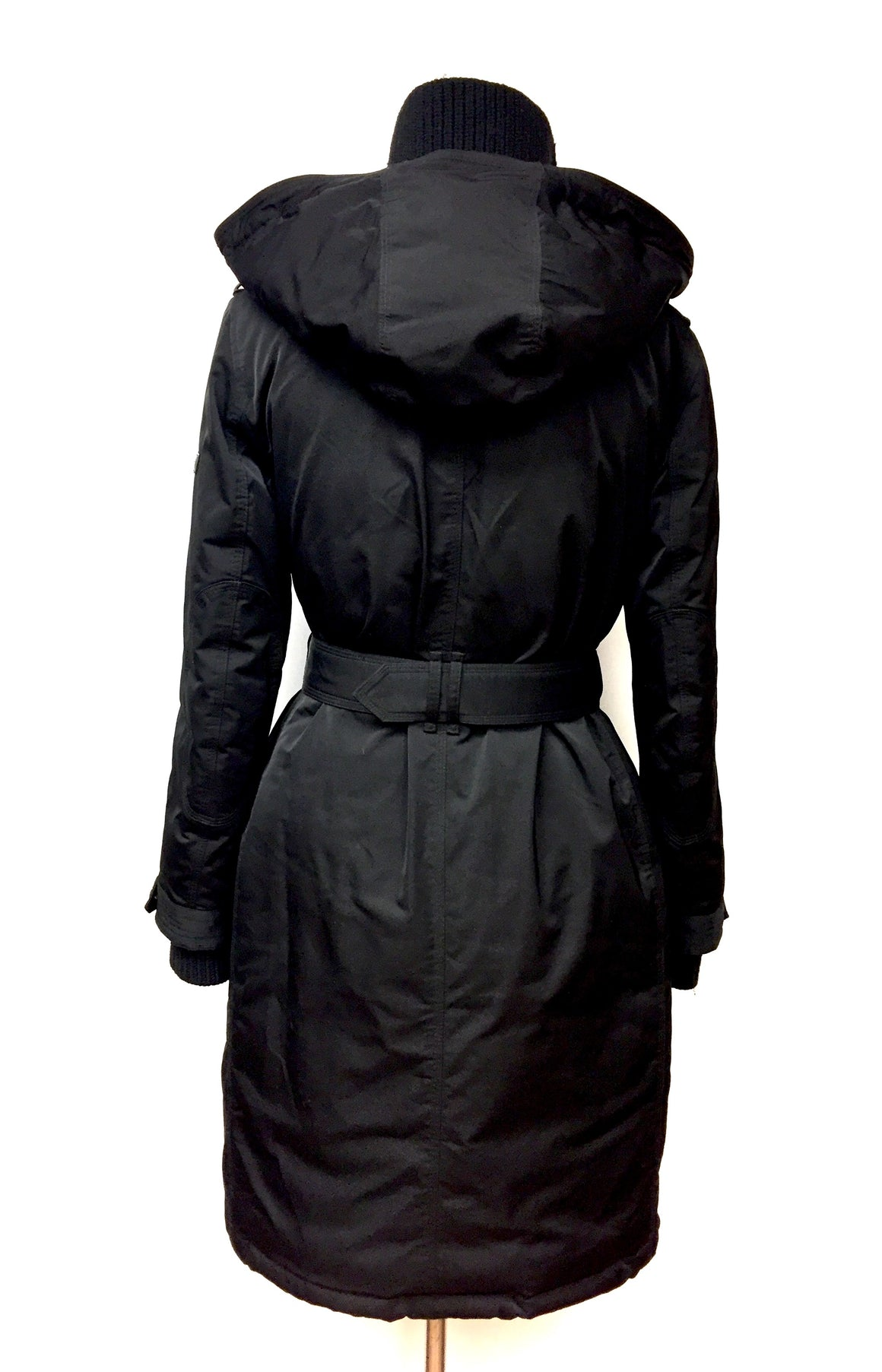 BURBERRY Black Microfiber Down-Quilted Belted & Hooded Winter Coat Size: 6