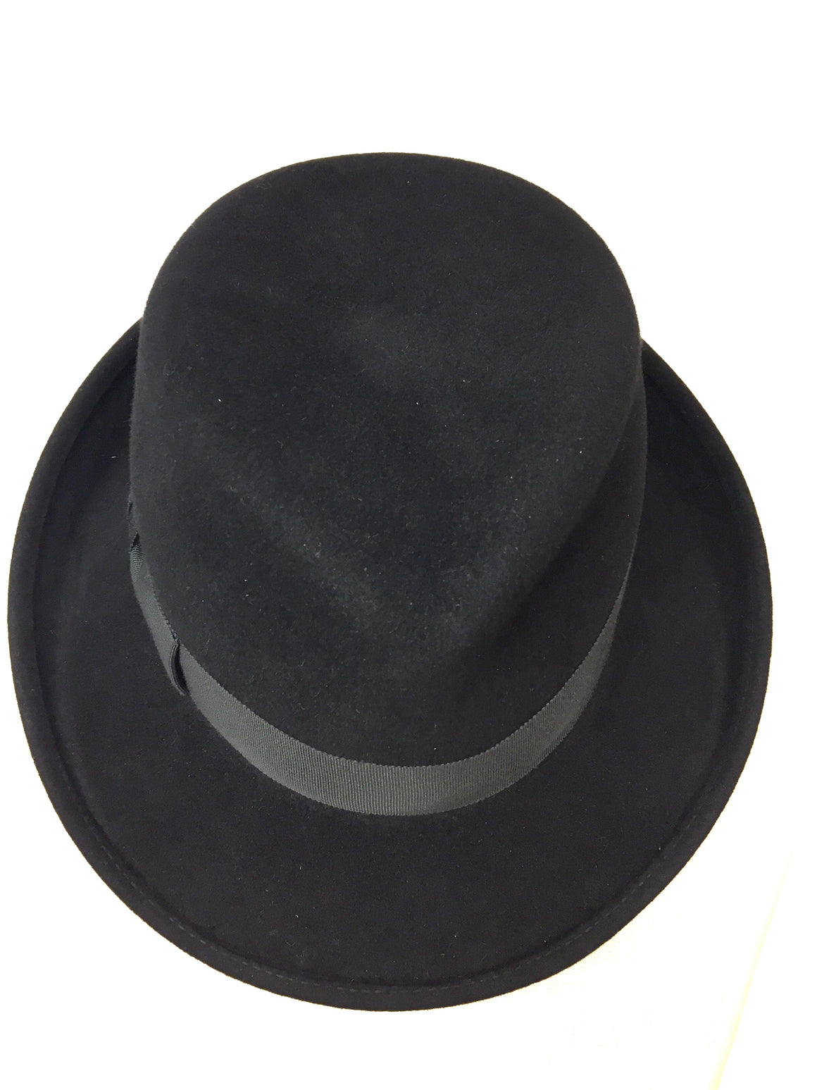 ERIC JAVITS Black Wool Gros-Grain Ribbon Fedora Hat