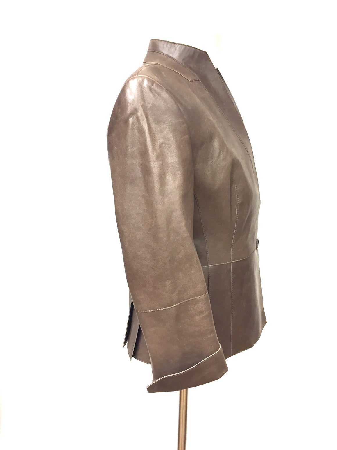 AKRIS Brown Distressed Leather Stand Collar Jacket Size: EU 36 / US 6