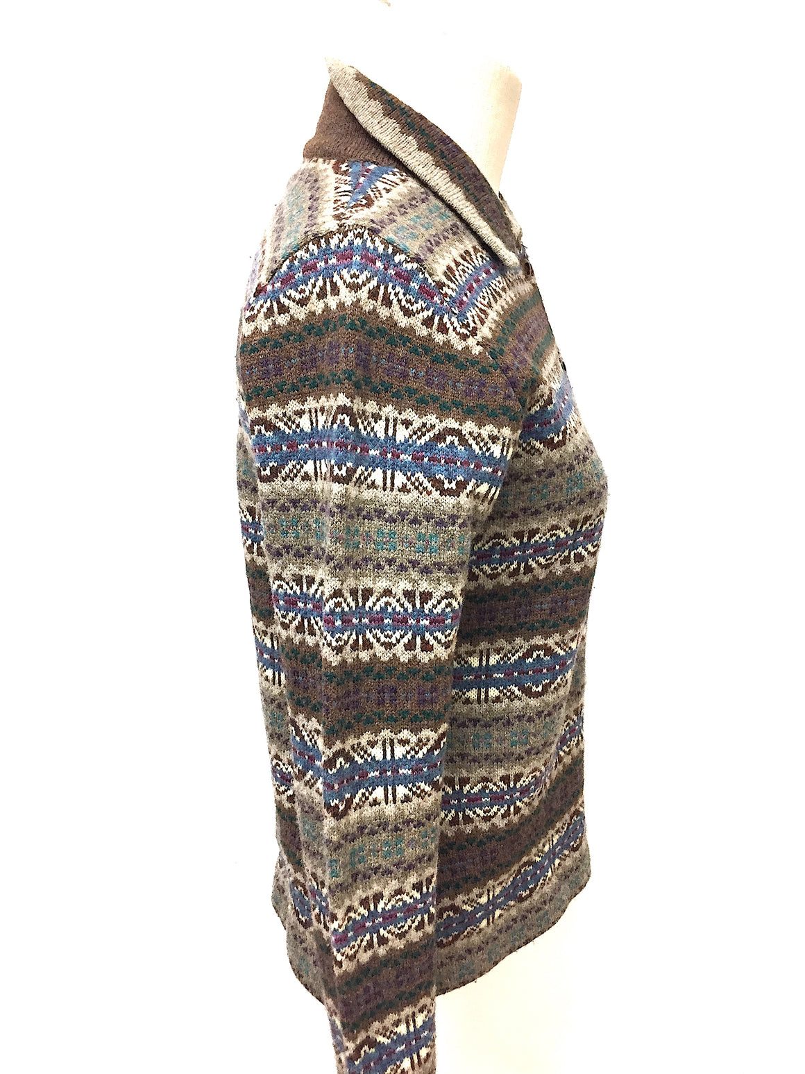 LAUREN RALPH LAUREN Vintage Taupe/Multicolor Fair Isle Patterned Lambswool Cardigan Sweater Size: Small
