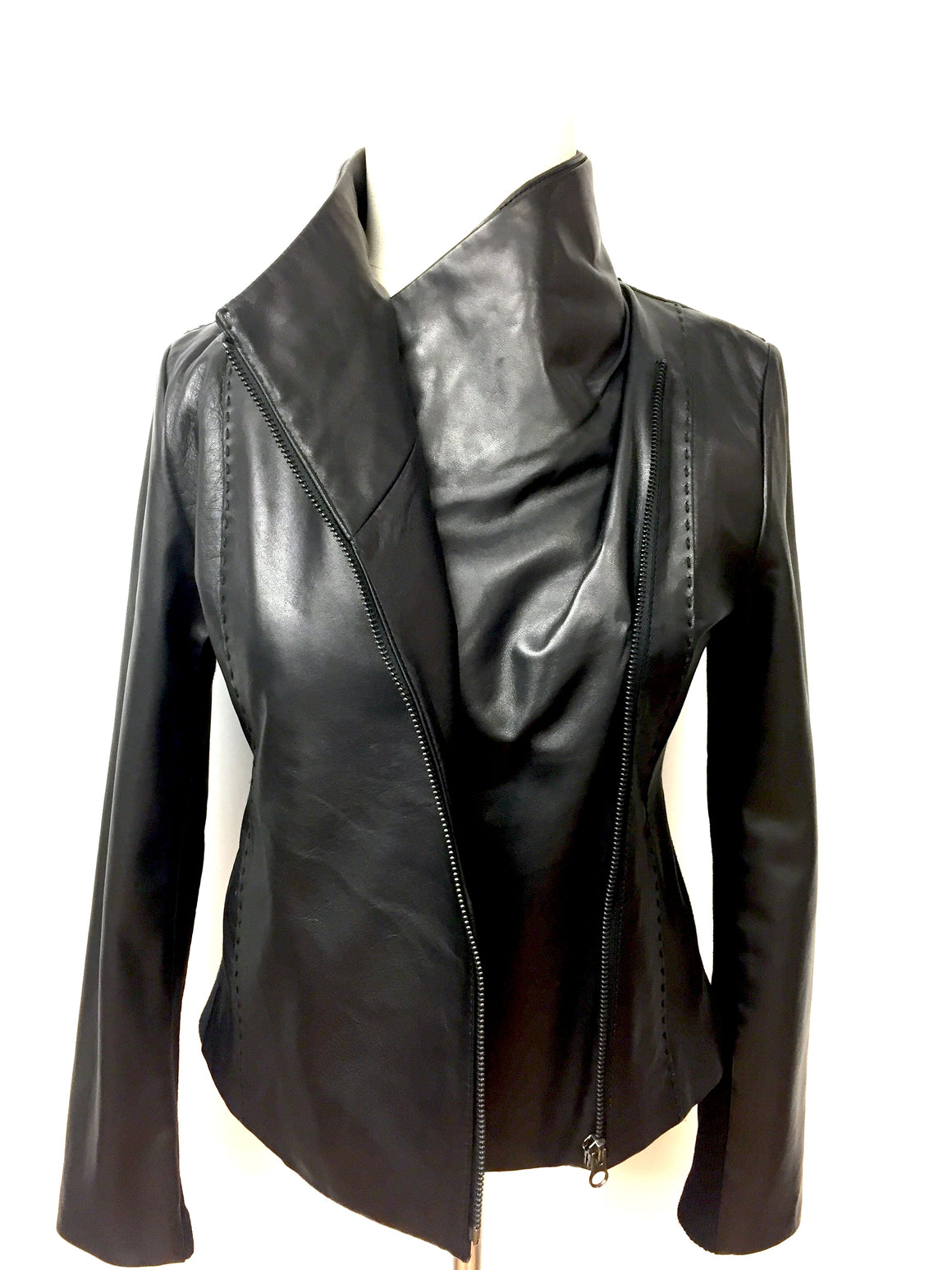 VINCE Black Leather Asymmetric Zip Closure Jacket Size: XL - Runs SMALL