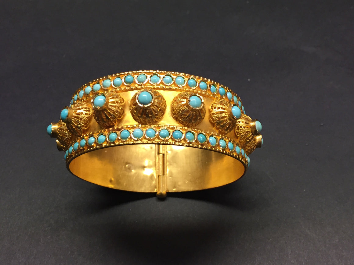 18K YELLOW GOLD Turquoise-Studded Traditional Ethnic Bracelet