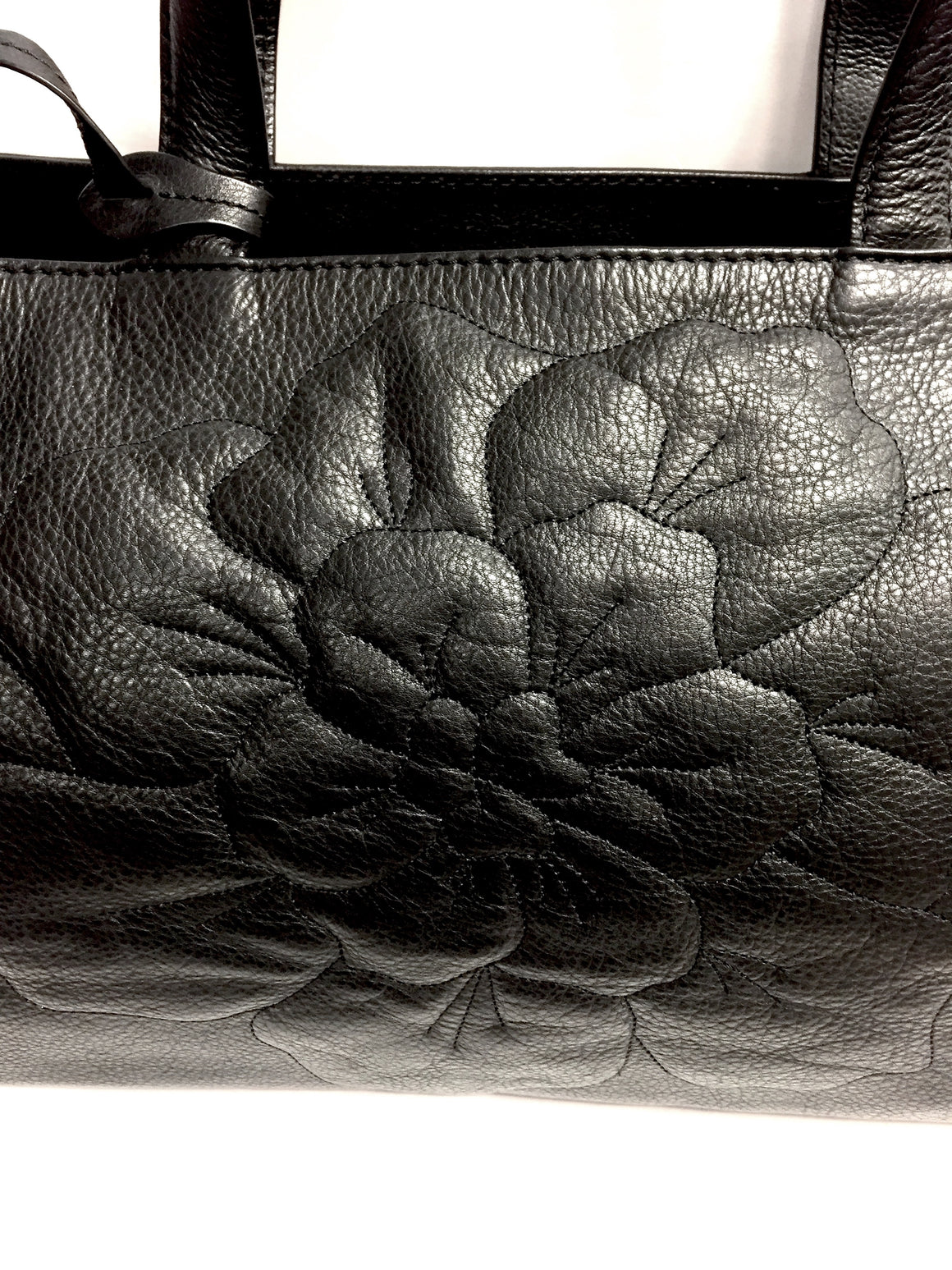 ANNE FONTAINE Black Caviar Leather Signature Embossed Flower Front Tote Bag