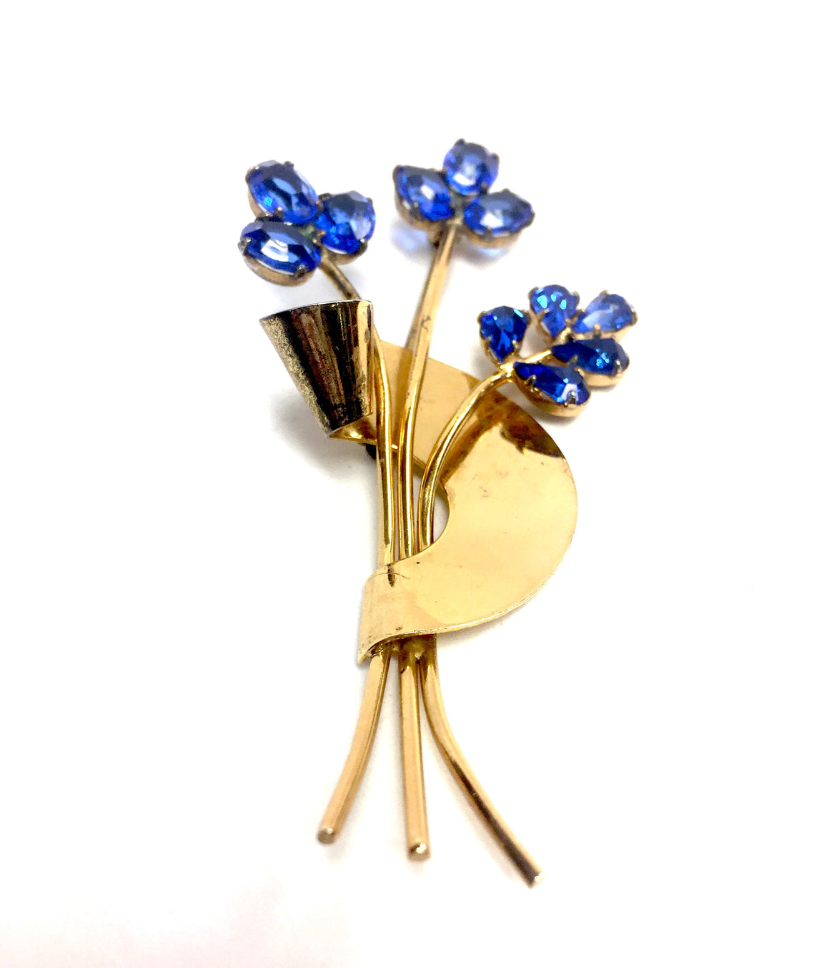 Vintage CORO Sterling Silver Vermeil Blue Crystal Floral Spray Pin Brooch