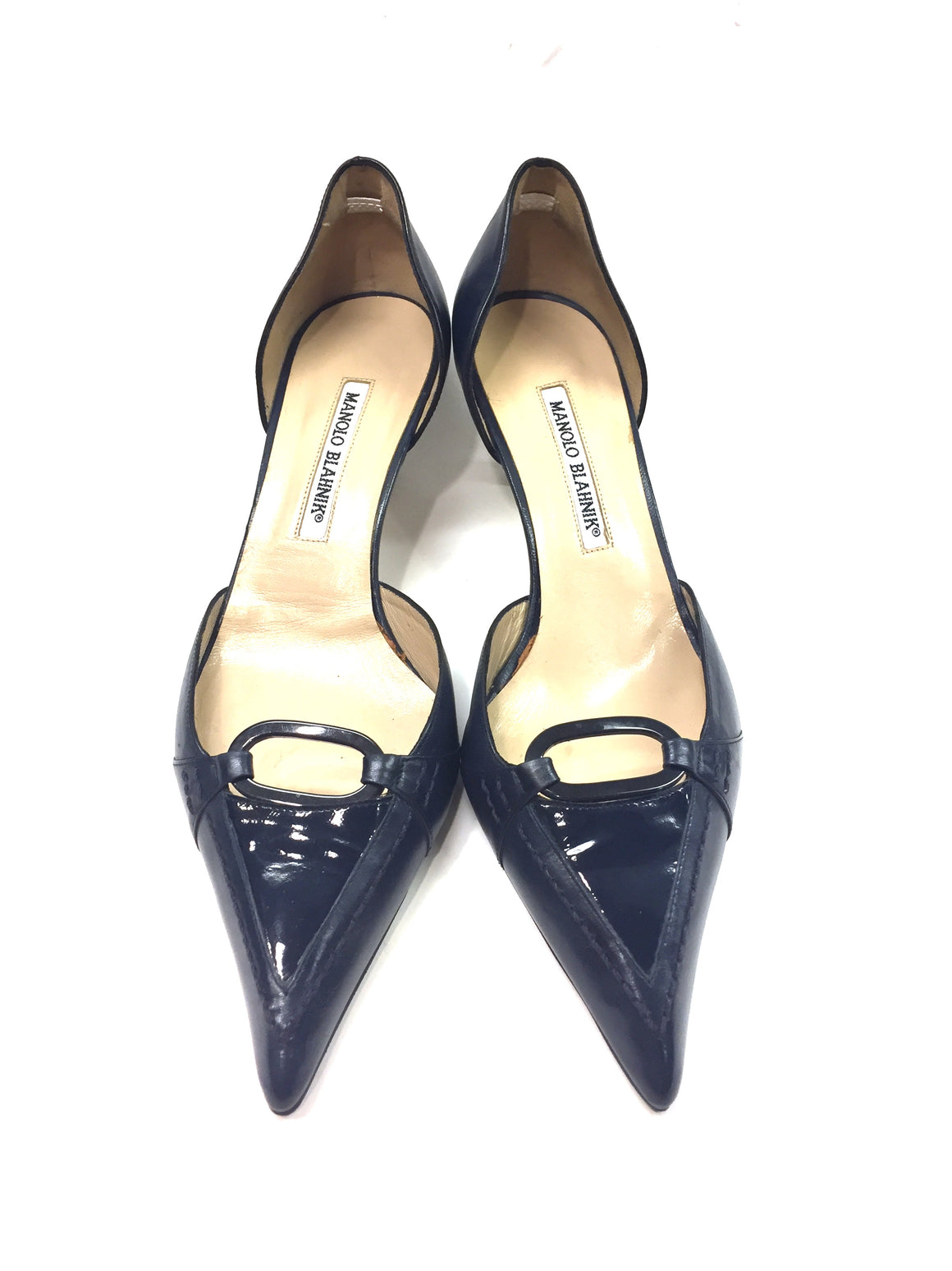 MANOLO BLAHNIK Navy Leather Pointed-Toe Kitten-Heel D'Orsay Pumps Sz39.5