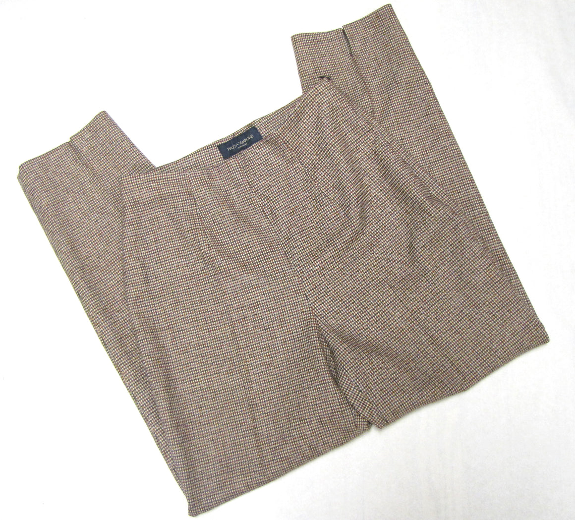 PIAZZA ASEMPIONE Red Navy Beige Small Houndstooth Wool-Blend Pants SzIT40